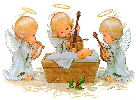 Christmas angels manger playing instruments
